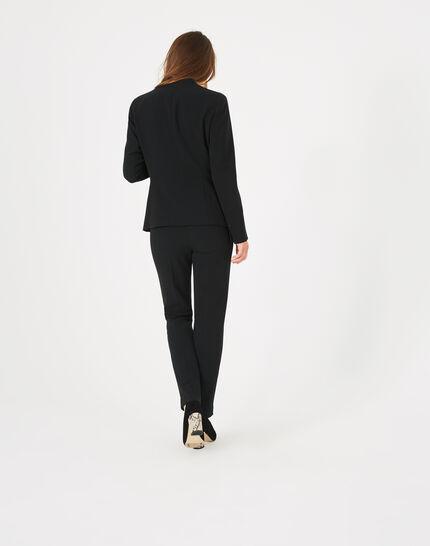 Veste de tailleur noire mi-longue Majeste (5) - 1-2-3
