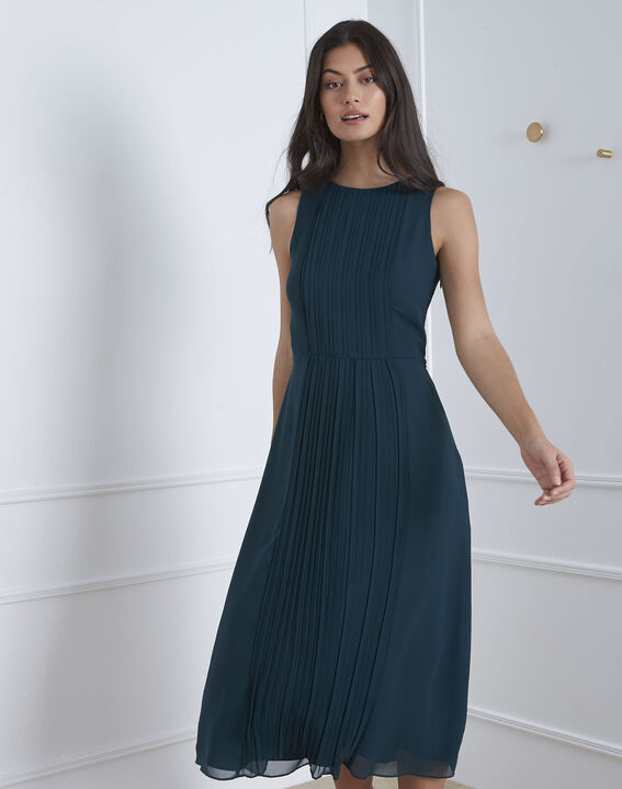 Langes, plissiertes, dunkelgrünes Kleid Isabella (1) - Maison 123