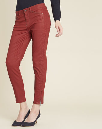 Opera slim-cut mahogany 7/8 length coated jeans terracotta.