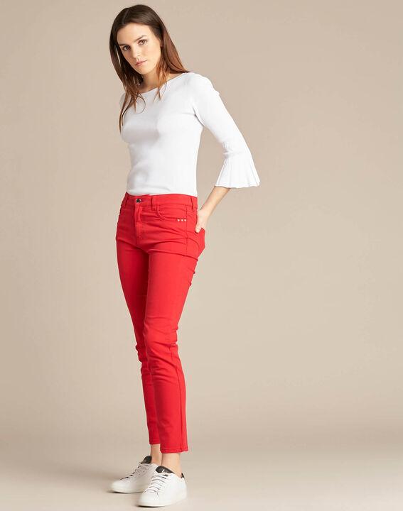 Rote 7/8 Slim-Fit-Jeans normale Leibhöhe Vendôme (2) - 1-2-3