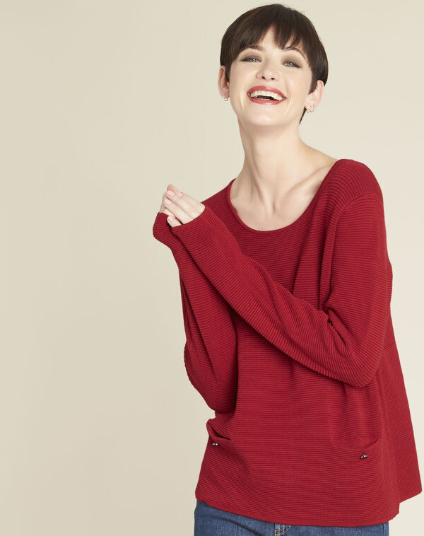 Pull rouge détails poches Blandine (1) - 1-2-3