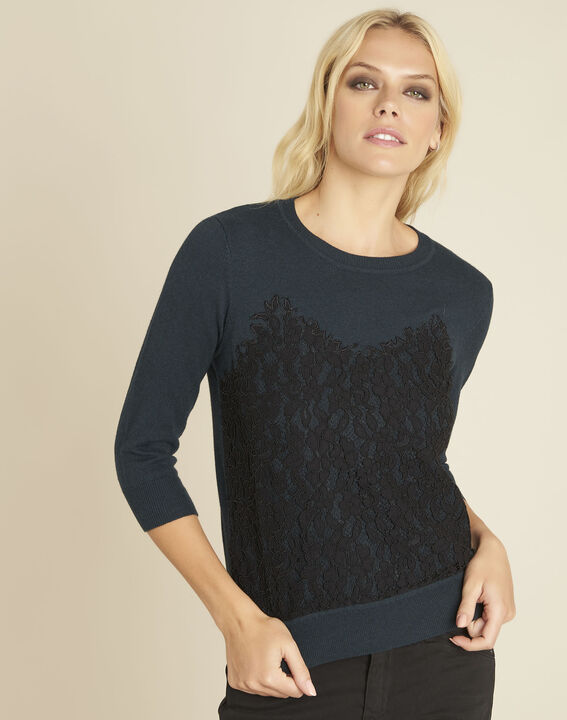 Bertille dark green sweater with lace insert PhotoZ | 1-2-3