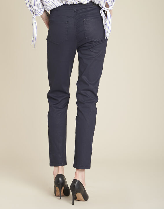 Vendôme 7/8 length navy coated jeans (4) - 1-2-3