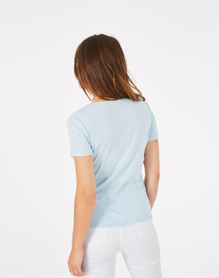 Tee-shirt bleu ciel col strassé Neck (4) - 1-2-3