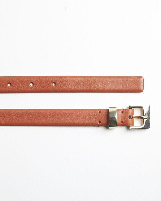 Brauner Ledergürtel mit goldfarbener Schnalle Quentin (1) - 1-2-3