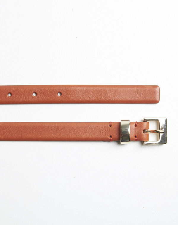Quentin brown leather belt with a gold tone buckle (1) - 1-2-3