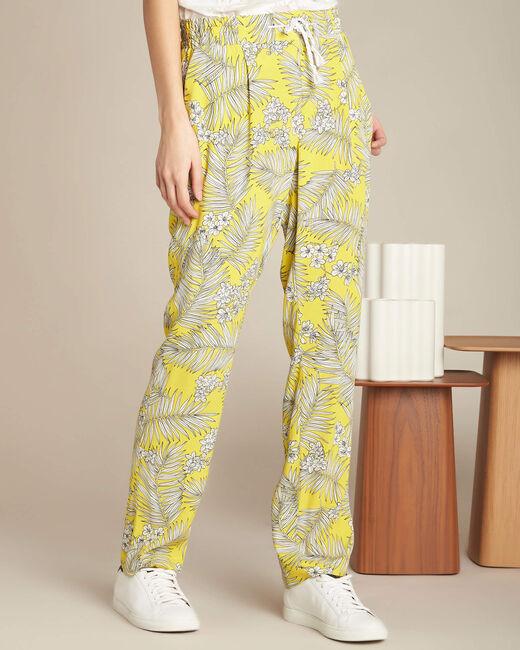 Pantalon jaune fluide imprimé fleuri Silae (2) - 1-2-3