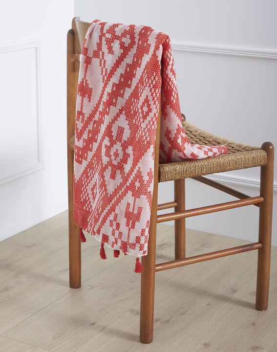 Foulard rouge imprimé à pompons Oriane (1) - Maison 123