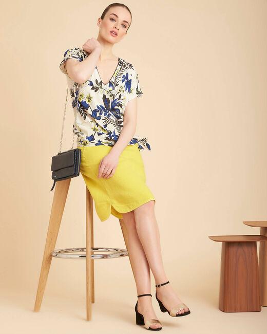Beige blouse met print en strik aan de taille Edgee (1) - 37653