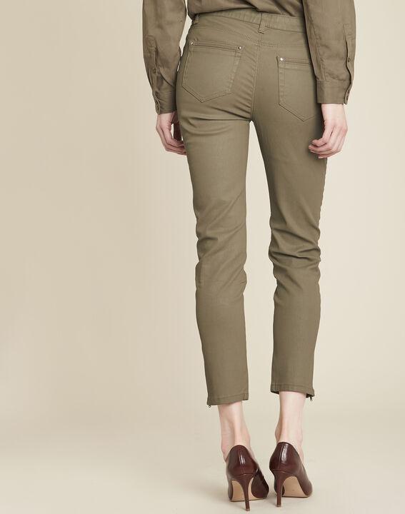 Groene slim fit 7/8-jeans met coating Opera (4) - Maison 123