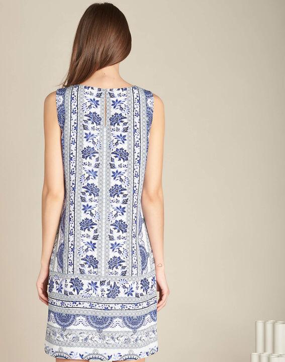 Pistil navy blue printed dress in silk (4) - 1-2-3