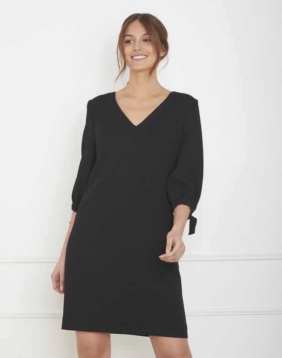 Robe noire crêpe noeuds manches Loumia PhotoZ | 1-2-3