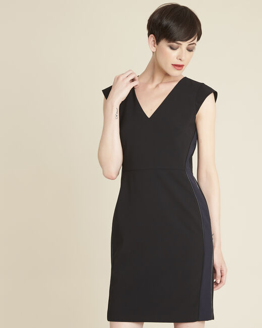 Daffo black straight-cut dress in microfibre (2) - 1-2-3