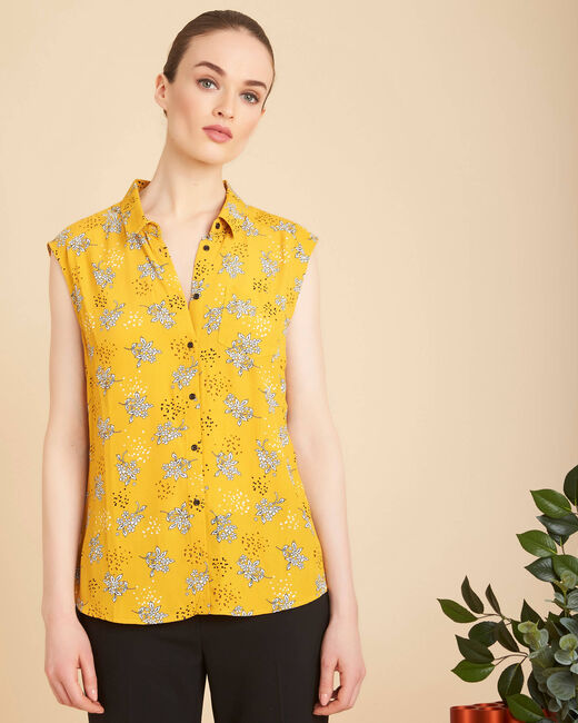 Armony sleeveless yellow top with pattern (2) - 1-2-3
