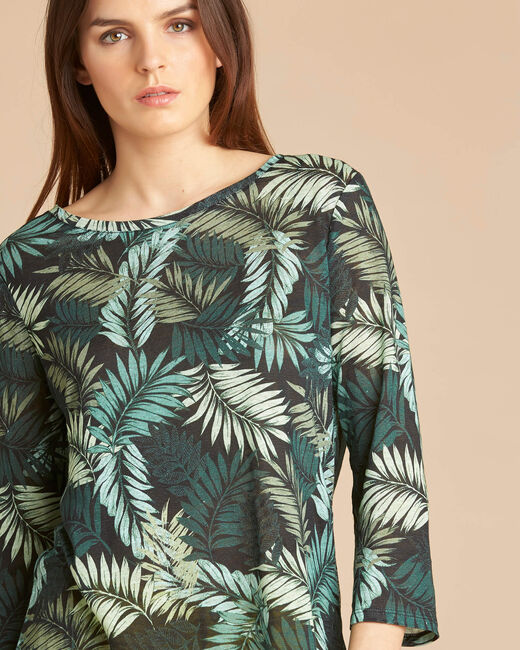 Ebahi leaf print T-shirt with 3/4 length sleeves (1) - 1-2-3