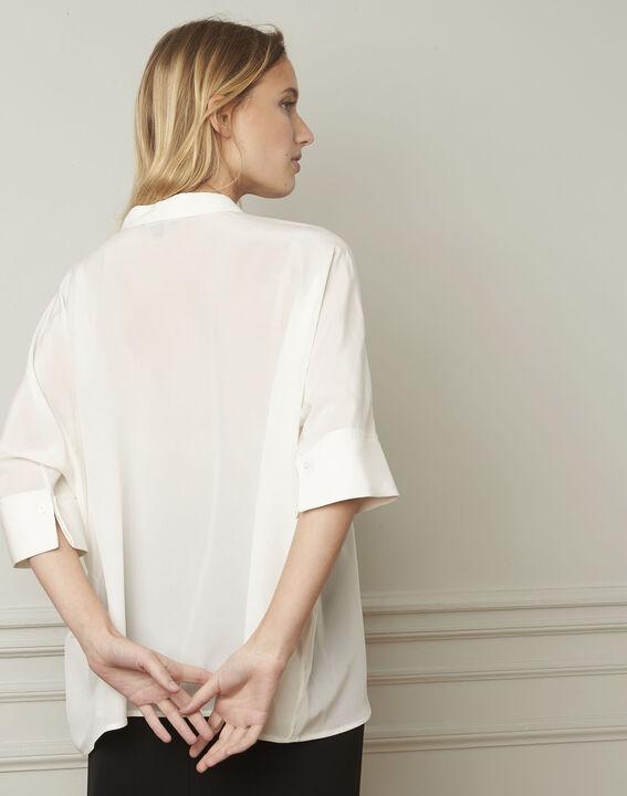 Ecrufarbene ausgestellte Bluse aus Seide Vania (3) - 1-2-3