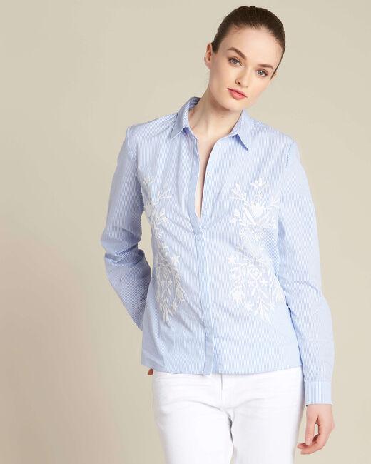 Marineblauw geborduurd hemd met strepen Grant (2) - 37653