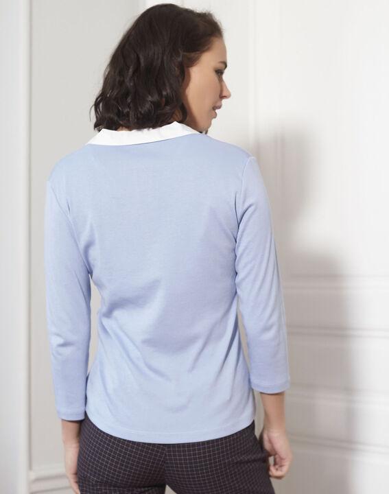 Azuurblauw shirt met contrasterende halslijn Galice (4) - 37653