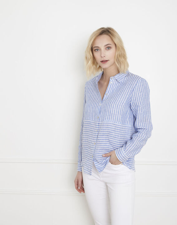 Chemise bleu azur rayée en lin Venetia (1) - Maison 123