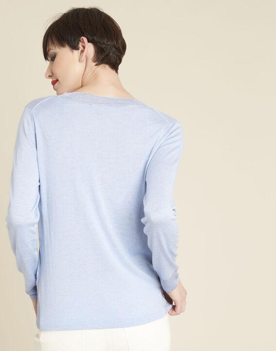 Dunne azuurblauwe trui met V-hals Bergamotte (4) - 37653