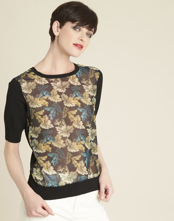 Belombra leaf print sweater in a cotton mix black.