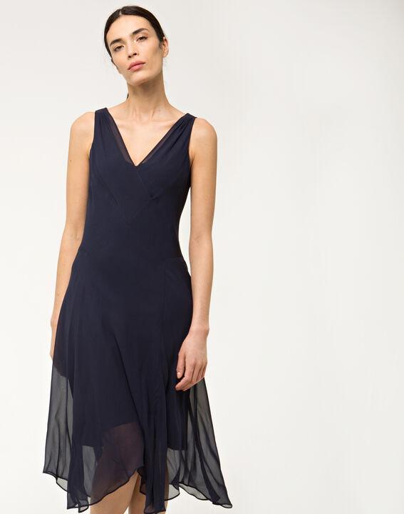 robe bleue mi longue en soie foret 123. Black Bedroom Furniture Sets. Home Design Ideas