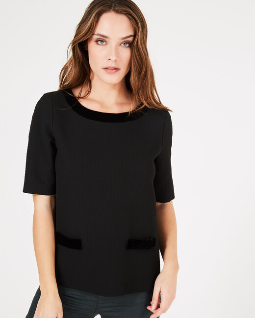 Tee-shirt noir à empiècements velours Livia (1) - 1-2-3