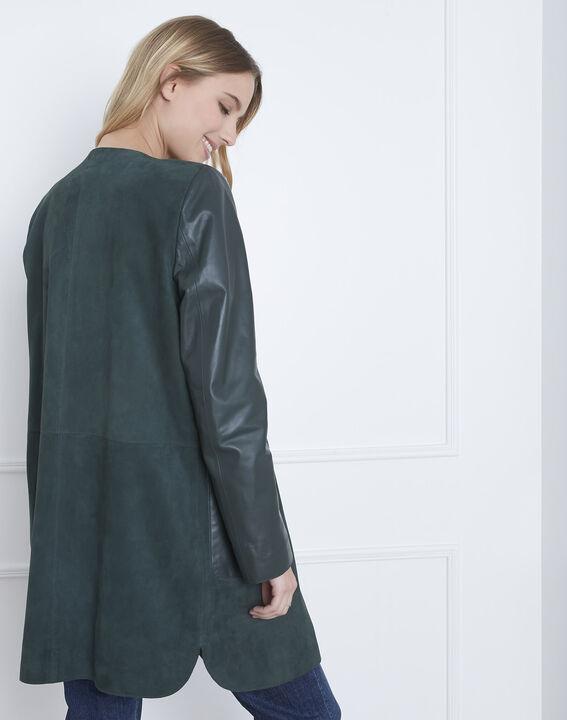 Manteau vert foncé en cuir Dtamara (4) - Maison 123