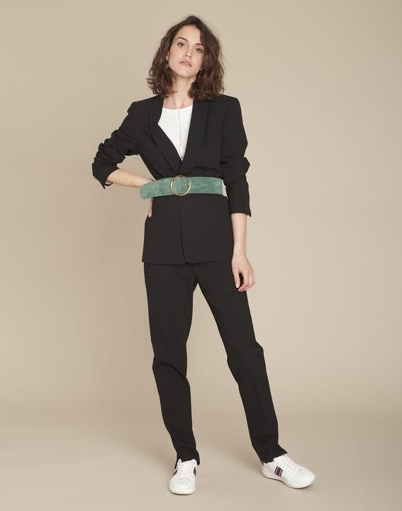 Stella black jacket with cowl microfibre neckline (3) - 1-2-3