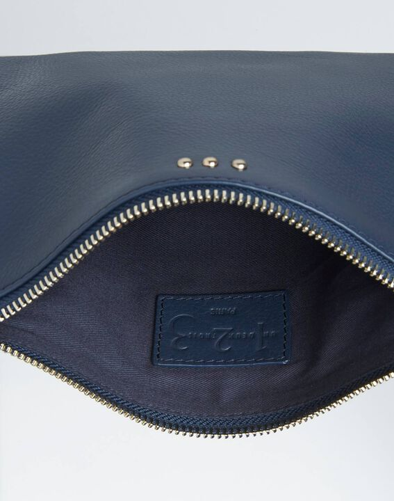 Droopy navy clutch with leather straps PhotoZ | 1-2-3