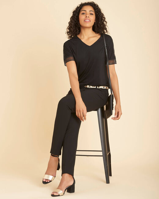 Estelle black guipure T-shirt with V-neck (1) - 1-2-3