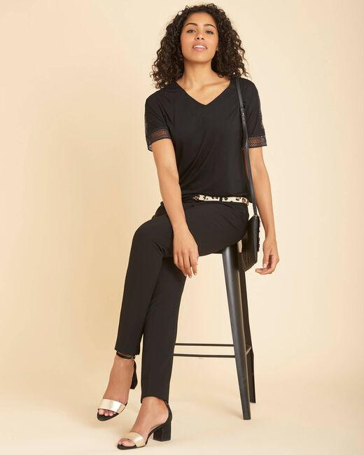 Schwarzes T-Shirt mit V-Ausschnitt und Guipure-Spitze Estelle (2) - 1-2-3