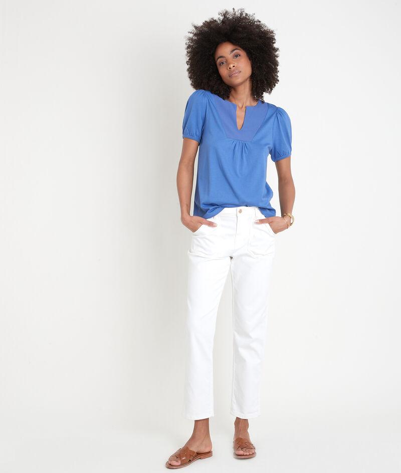 Tee-shirt à manches ballon bleu Eden PhotoZ | 1-2-3