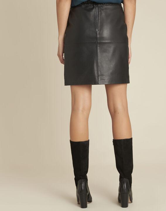 Jupe noire en cuir lisse Atila (4) - Maison 123