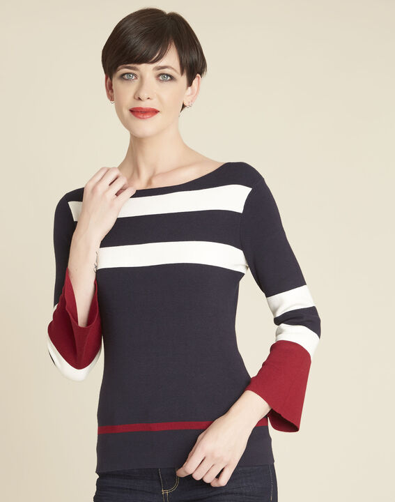 Bins navy blue striped sweater with pagoda sleeves (1) - 1-2-3