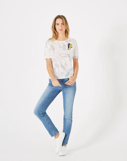 Tee-shirt écru imprimé mains Badge (1) - 1-2-3