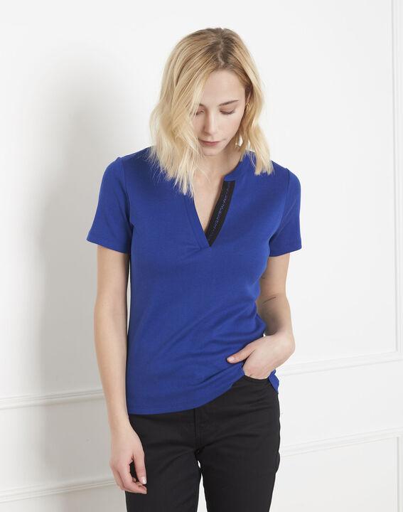 Tee-shirt bleu biais lurex Priscille (1) - Maison 123