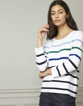 Nacadamia white viscose blend pullover with coloured stripes white.