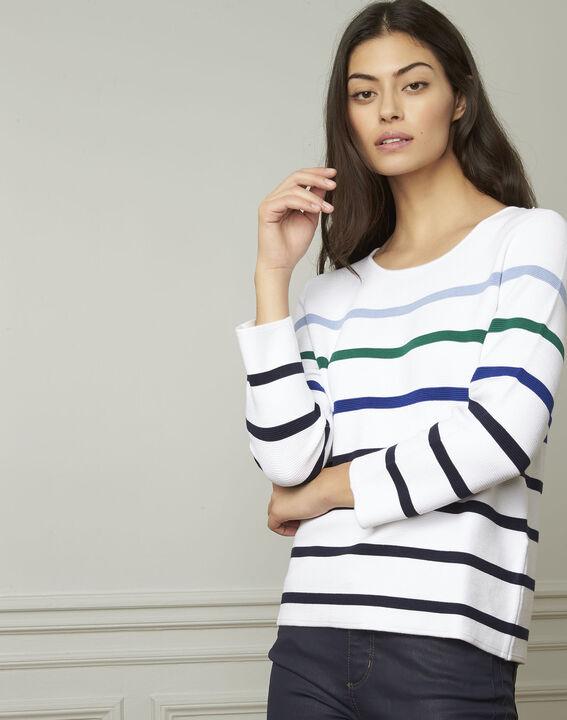 Witte trui met kleurrijke strepen van gemengde viscose Nacadamia (1) - Maison 123