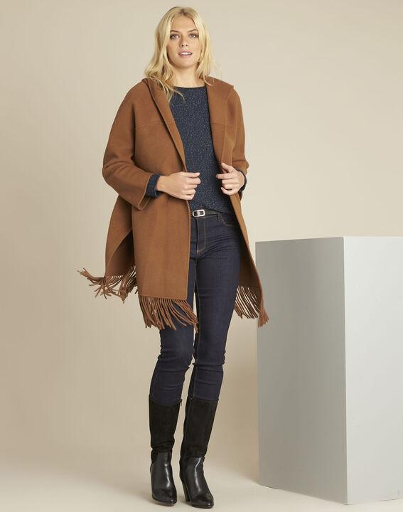 Camelfarbener Mantel mit Fransen aus Wollgemisch Elisa (2) - 1-2-3