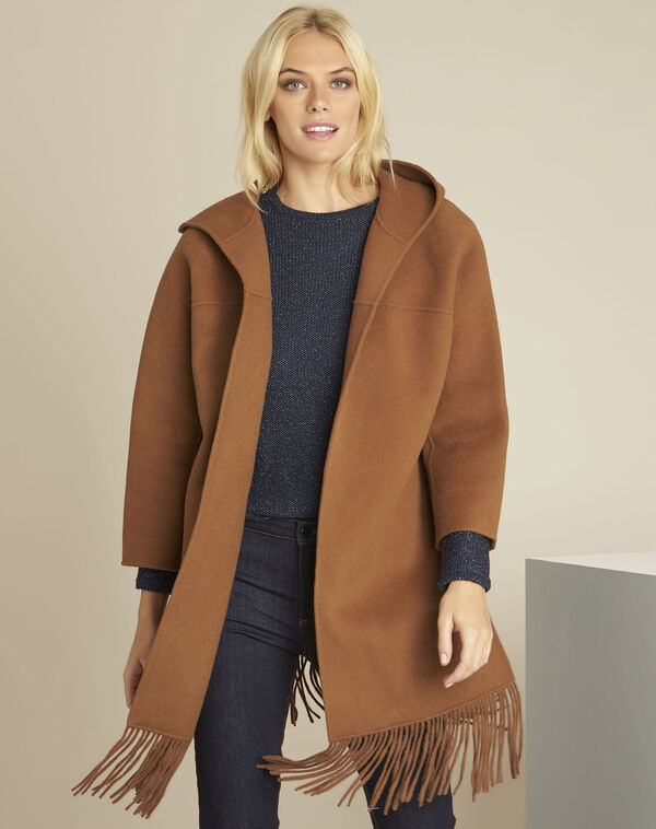 Manteau camel franges laine mélangée Elisa (1) - 1-2-3