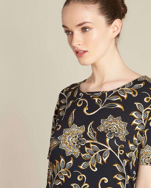 Zwart T-shirt met sjaaltjesprint Encens (2) - 37653