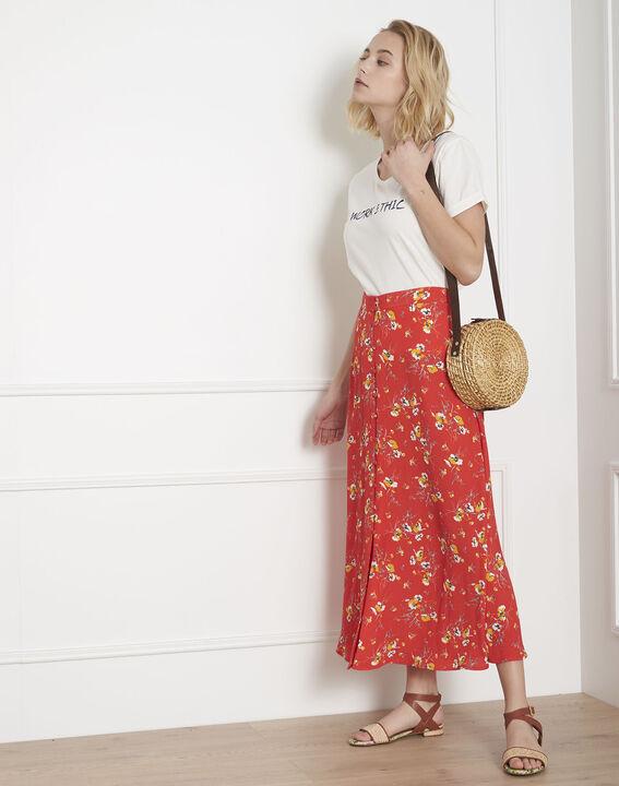 Jupe rouge longue imprimé fleuri Saya (5) - Maison 123