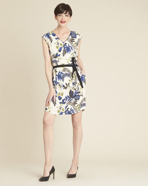 Perceneige floral print dress in beige (1) - 1-2-3