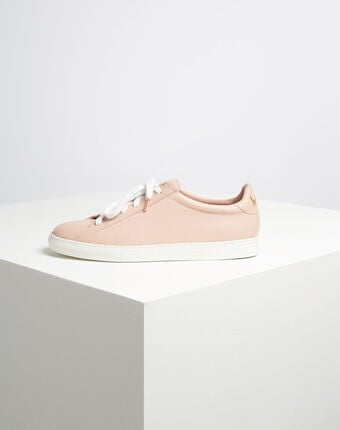 Kennedy pastel golden leather trainers with serigraph detailing  powder.