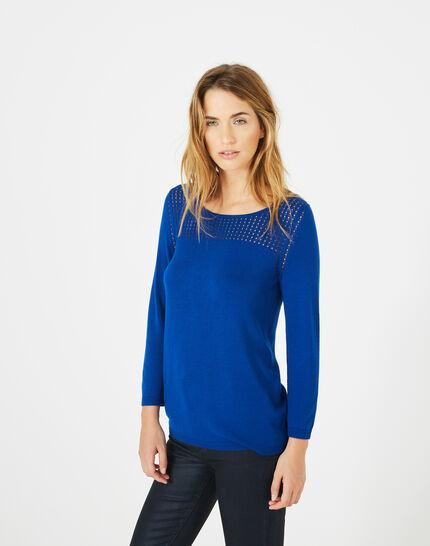 Pergola royal blue openwork sweater (2) - 1-2-3