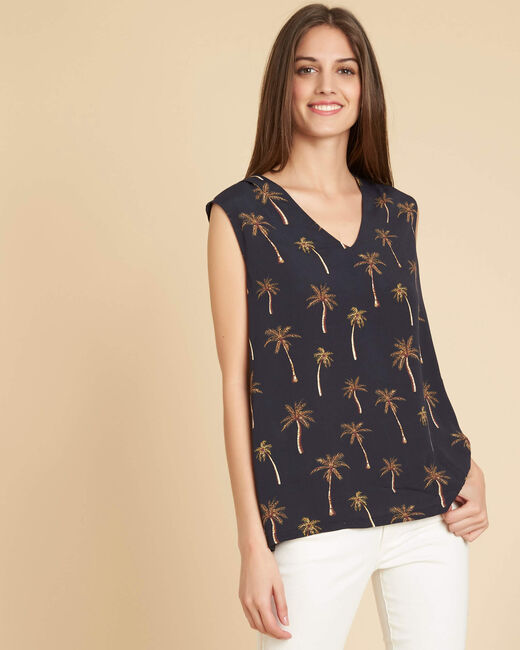 Gagny black dual fabric T-shirt with V-neck and palm print (2) - 1-2-3