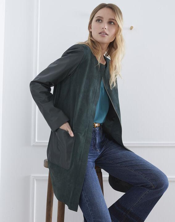 Manteau vert foncé en cuir Dtamara (1) - Maison 123