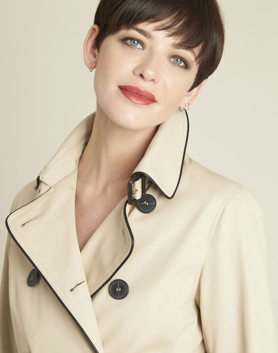Eclipse beige cotton mix trench coat with contrasting bias (4) - 1-2-3