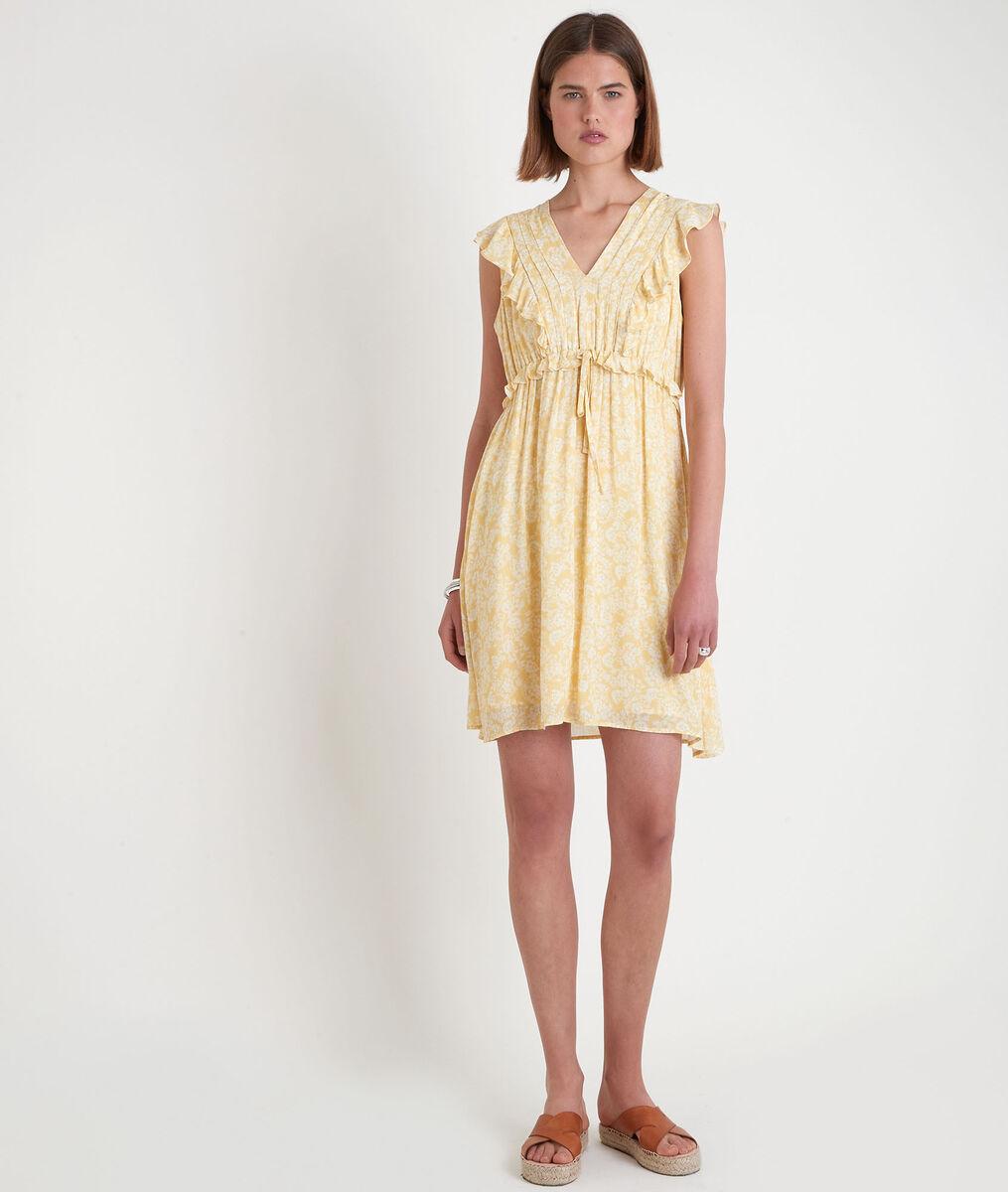Robe courte imprimée jaune Savannah PhotoZ | 1-2-3